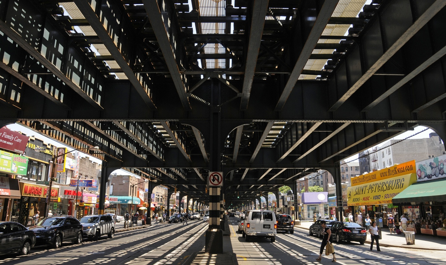 The elevated subway, a hallmark of Brighton Beach, seen here in 2011.